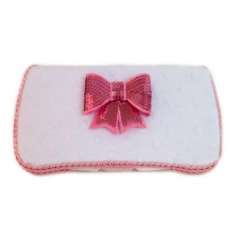 White minky and pink bow tie Belle baby wipes case