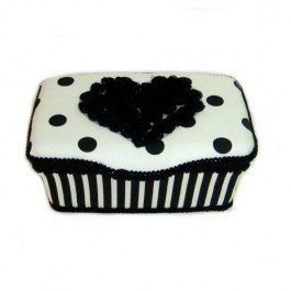 White and Black polka dots and Chiffon Heart Dallas Baby wipes case