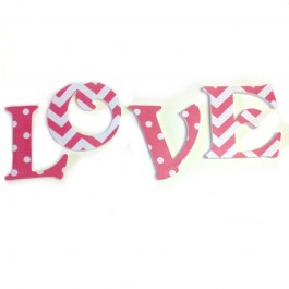 Pink polka dots and chevron nursery letters