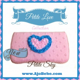 Baby pink minky and aqua heart Baby wipes case