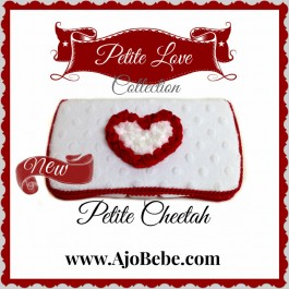 White minky and red chiffon heart Baby wipes case