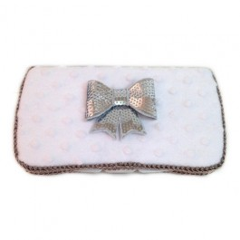 White Minky and grey Bow-tie Susannah Baby wipes case