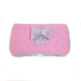 Pink minky and white bow tie Virginia baby wipes case