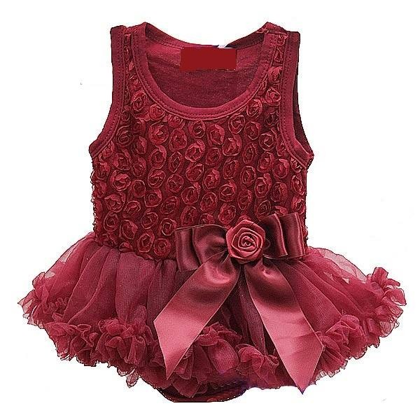 Sweet Heart Rose Bordo Rosette Holiday Dress