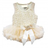 Sweet Heart Rose Cream Rosette Holiday Dress