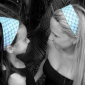 AB-17 Blue dots Bloom- Reversible Headband