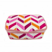 NEW! Pink, orange and white Chevron Nursery Baby wipes case Spring Burst