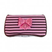 Pink and brown stripes Caroline baby wipes case