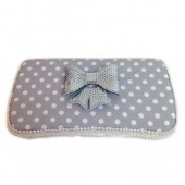 Grey Polka dot Bow-tie Clara wipes case