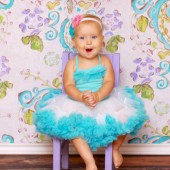 Cotton Candy Turquoise & White Ruffled Pettidress