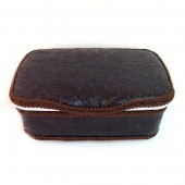 Espresso leather nursery baby wipes case