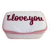 I LOVE YOU white and pink baby nursery wipes case
