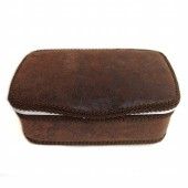 Brown leather baby nursery wipes case