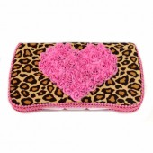 New! Cheetah Baby Wipes Case with Hot Pink Heart