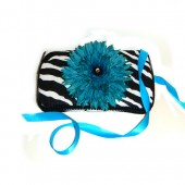 NEW!! Zebra and Turquise flower- Signature Wipes Case