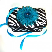 NEW!! Zebra and Turquoise flower- Animal Print Nursery Wipes Case