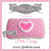 Baby pink minky and pink heart Baby wipes case