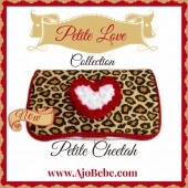 Cheetah and red heart baby wipes case
