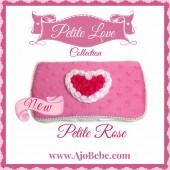 Hot pink minky and pink heart Baby wipes case
