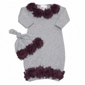 Shabby Chic Grey and deep purple Baby gown