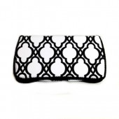 Black and white trellis baby wipes case
