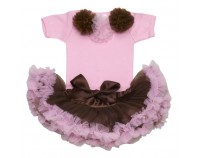 Cotton Candy Pink & Brown Tutu Set