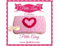 Pink minky and hot pink heart Baby wipes case